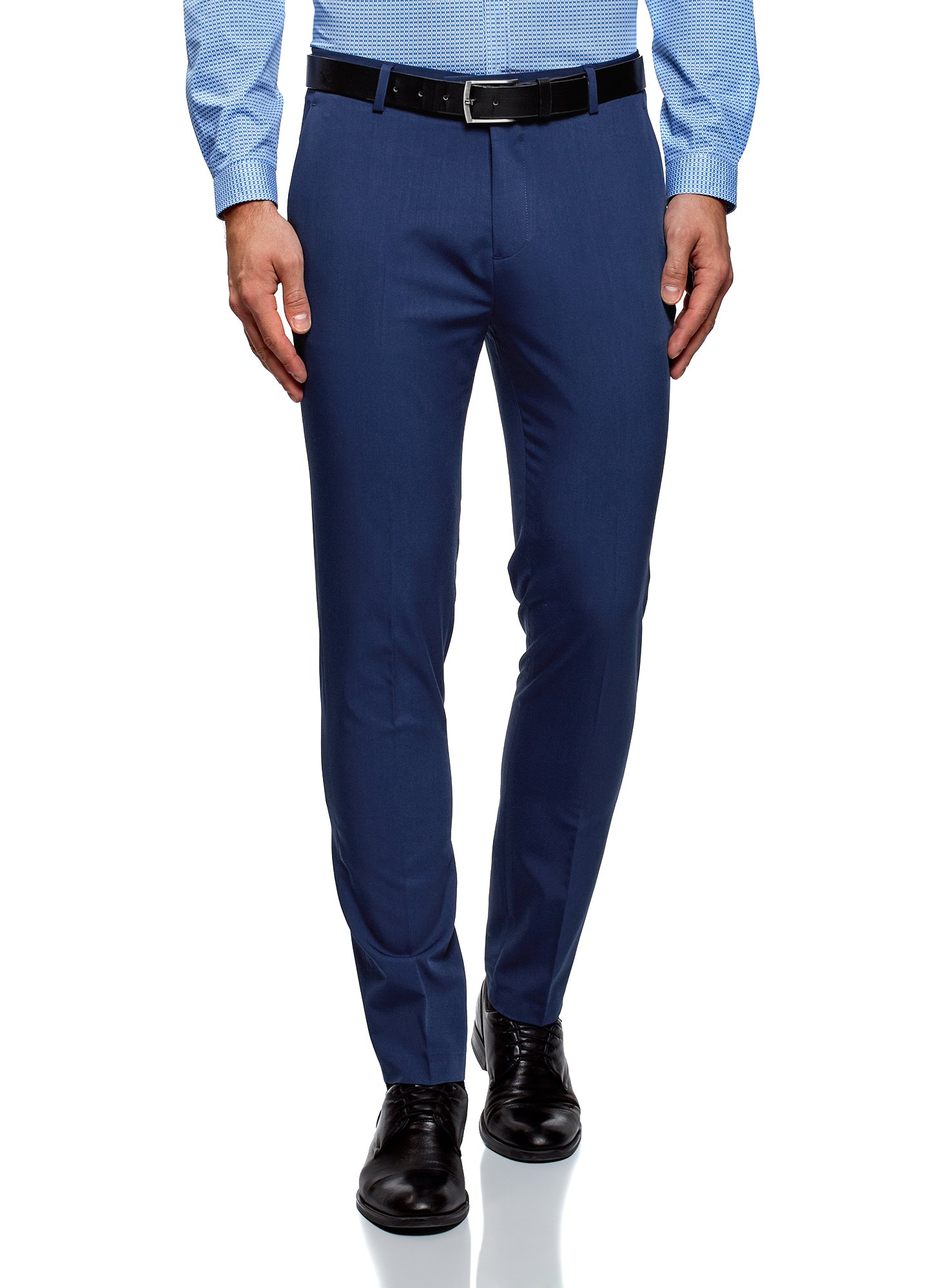 oodji Ultra Men's Lightweight Slim-Fit Trousers, Blue, US 34 / EU 46 / L