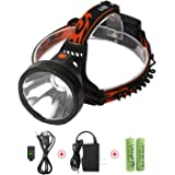 LED Head Torch USB Rechargeable, Super Bright Waterproof Headlamp Headlight for Outdoor Camping Fishing Hunting Hiking Running Cycling Mining Caving