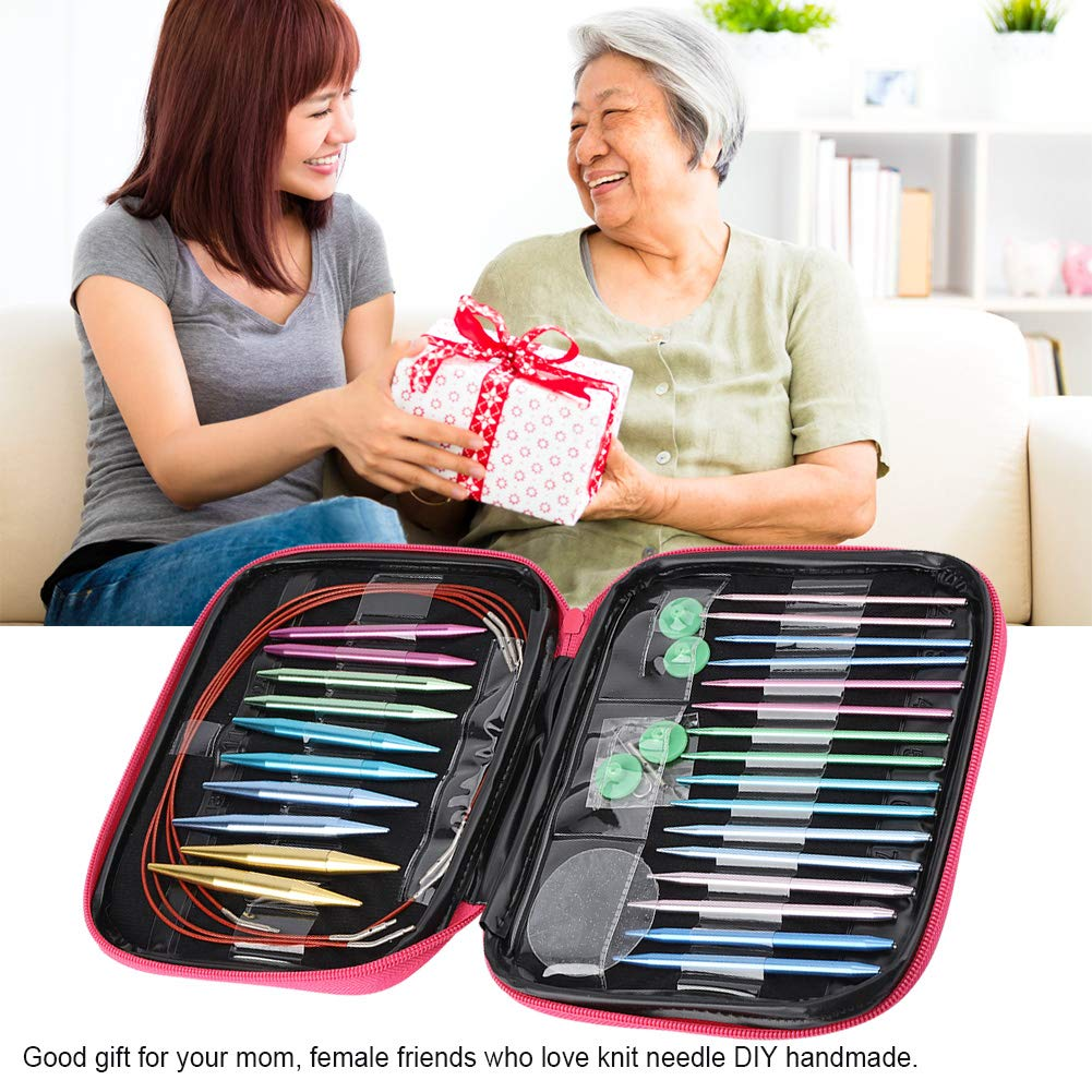 26 Pieces Knitting Needle Sets Interchangeable Aluminum Circular Knitting Needle Sets Weaving Tools