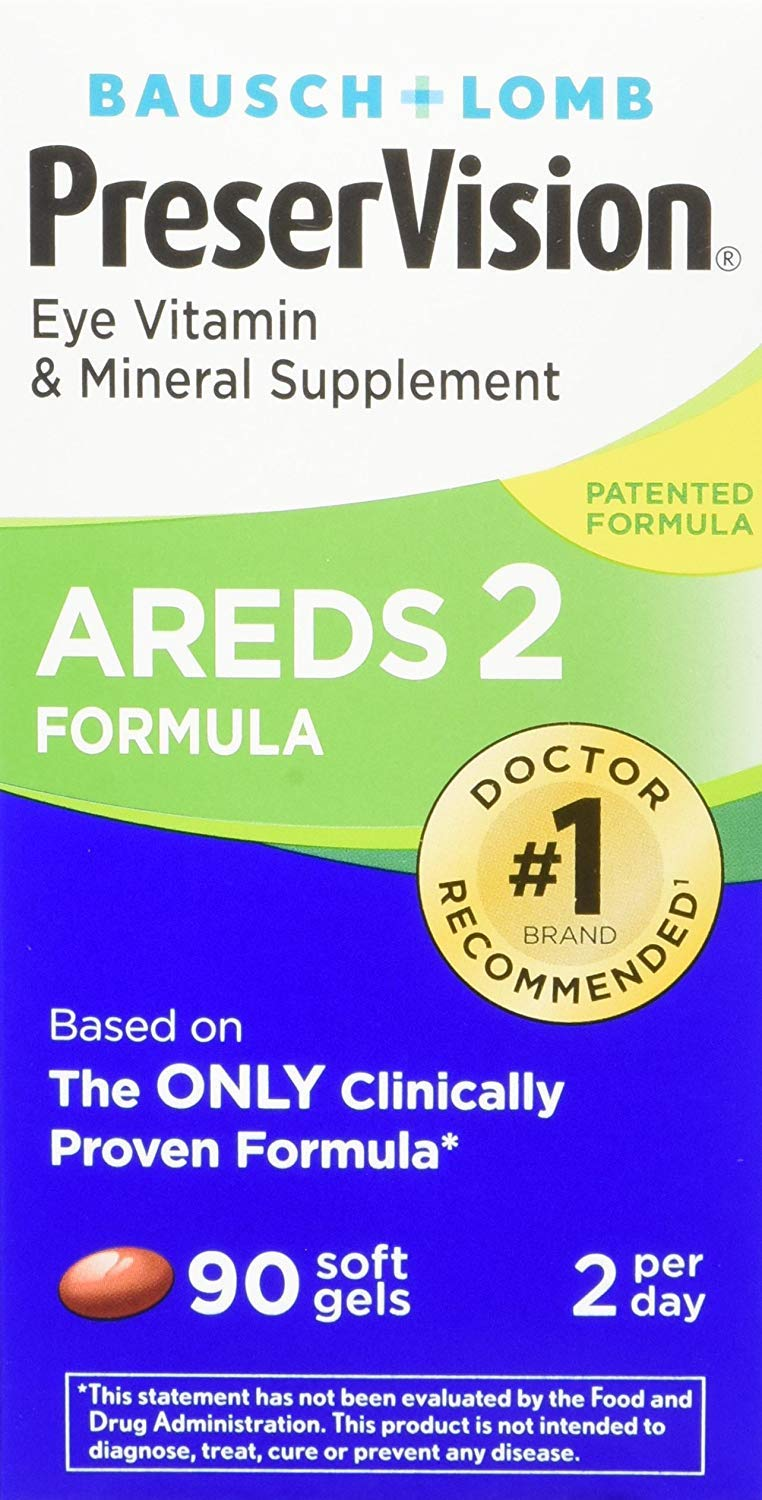 Bausch + Lomb PreserVision AREDS 2 Eye Vitamin & Mineral Supplement Soft Gels, 255 Count Bottle