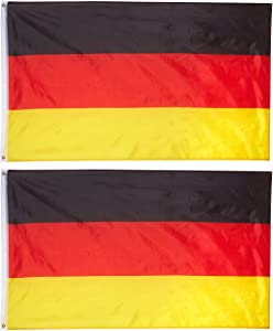 Juvale 2-Piece Germany Flags - Outdoor 3x5 Feet German Flags, Deutschland National Flag Banners, Double Stitched Polyester Flags with Brass Grommets, Decorations for Parties and Festivals, 3 x 5 Feet