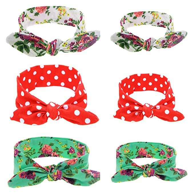 Roewell Parent-Child Cloth Headbands Mother and Baby Hair Bows Headbands  Turban Knotted Headwear ( 3686ac37b25