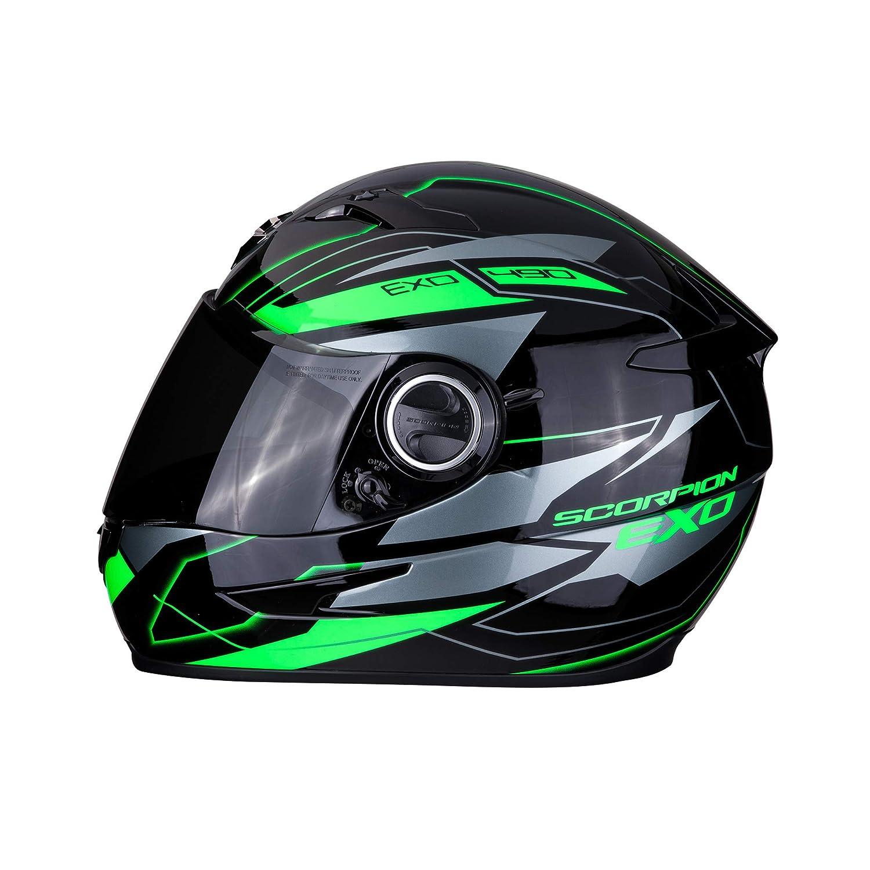negro y verde L Scorpion 49-2859-05 Casco de motocicleta Exo-490/Nova Black-Green