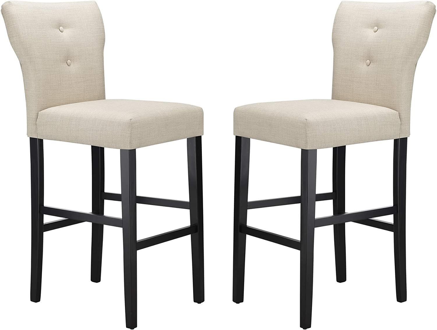 Amazon Brand – Ravenna Home Modern Bar Stool with Back, 44.25 Inch Height, Beige, Set of 2