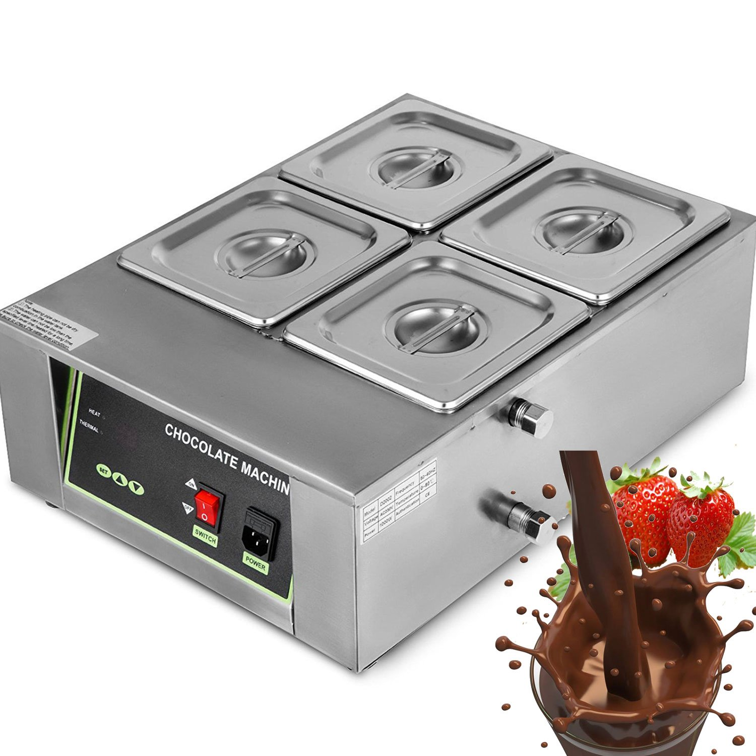 DreamJoy Commercial Electric Chocolate Tempering Machine Melter Maker with 4 Melting Pot 8kg Capacity Electric Water Heating Chocolate Melter