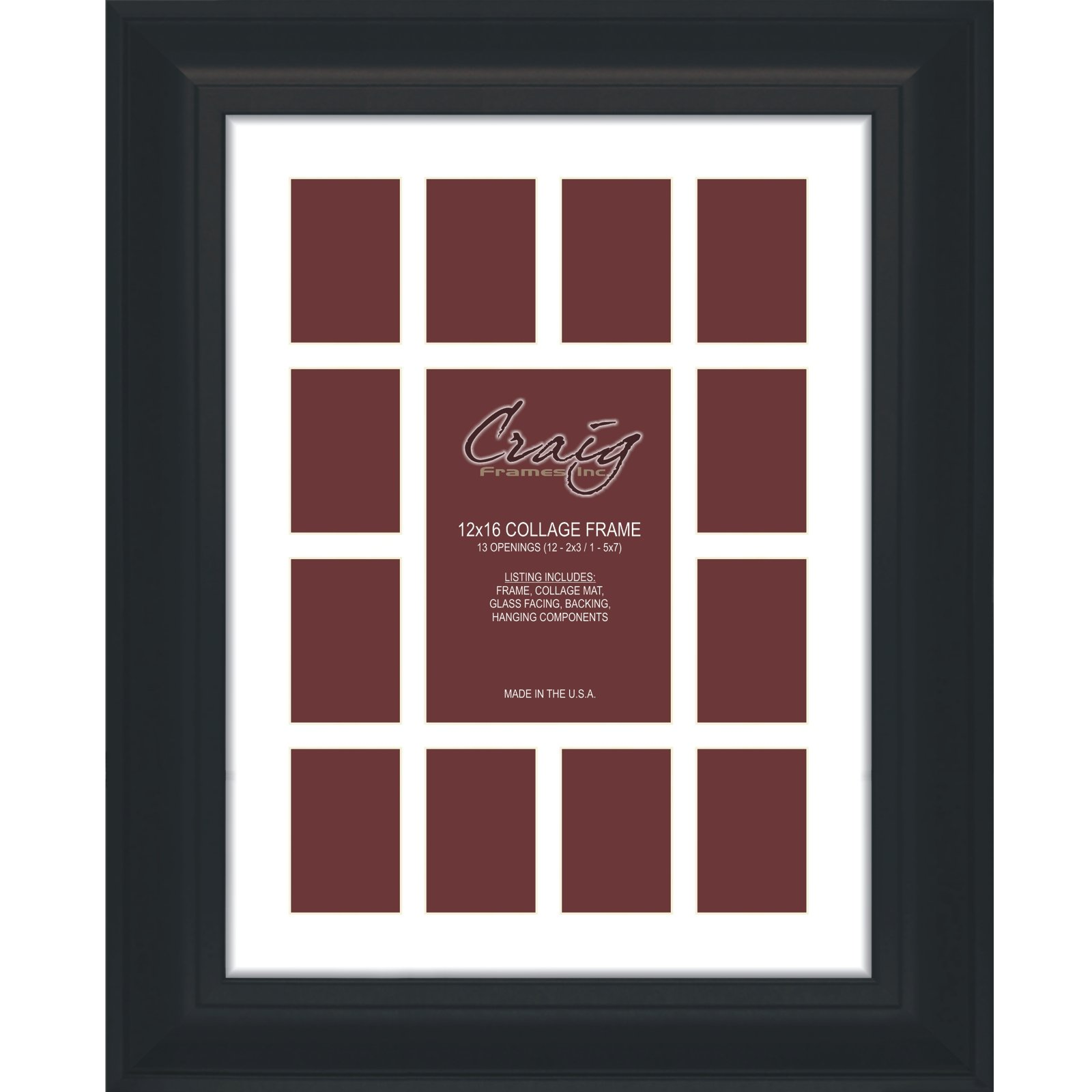 Craig Frames 21834700BK 12 by 16-Inch Black Picture Frame, Single White Collage Mat with 13 Openings