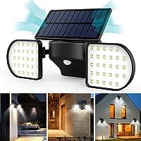 Luz Solar Exterior con Sensor de Movimiento JBHOO 56 Luces LED Foco Solar Exterior IP65 Impermeable 360°Luces Solares Ajustables de Movimiento al Aire Libre para Puerta Delantera Patio Jardín Patio