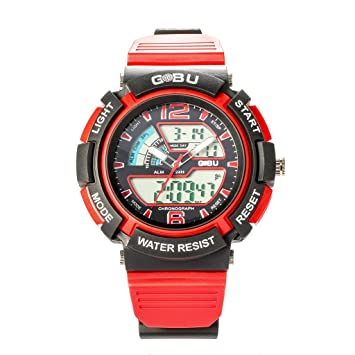 gobu 1536 Fashion reloj deportivo multifunción multicolor LED lanalog Digital impermeable alarma Características de reloj de pulsera resistente al agua ...