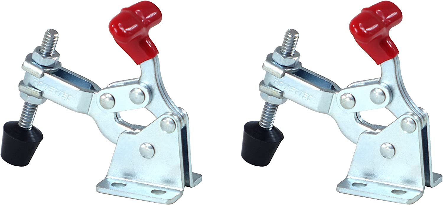 POWERTEC 20320 Vertical Quick-Release Toggle Clamp, 150 lbs Capacity, 13005, 2PK