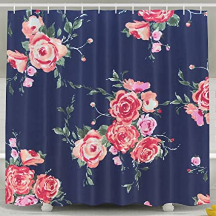 Rose Navy Floral Shower Curtain Waterproof Polyester Fabric Decorative Bathroom Bath Curtains 6072inch