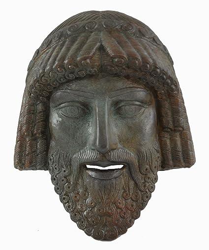 Zeus pequeña máscara con – color efecto de bronce antiguo teatro griego – rey de los