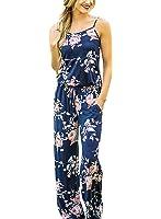 Floral Printed Jumpsuit Women Halter Sleeveless Wide Long Pants Jumpsuit Rompers