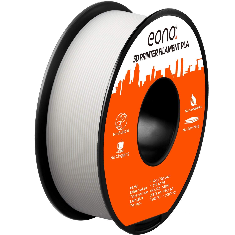 Eono by Amazon – PLA-Filament(1 Kilo) für 3D-Drucker, Verwicklung frei, Maßgenauigkeit von +/- 0,03mm, Geeignet für FDM-Drucker, 1,75mm-Weisses