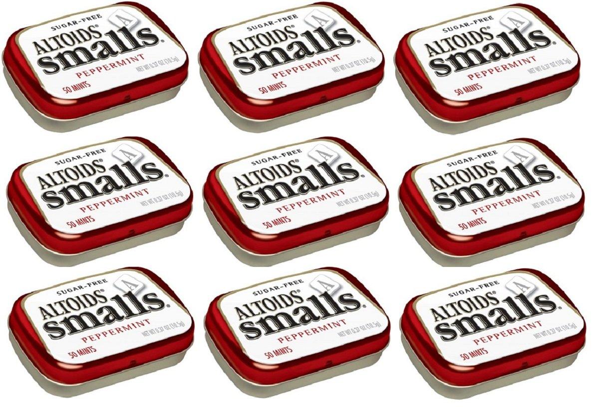 Altoids Smalls Pocket Size Peppermint Sugar Free Mint Tins - 9 Pack of .37 Oz (50 Mints) by Altoids