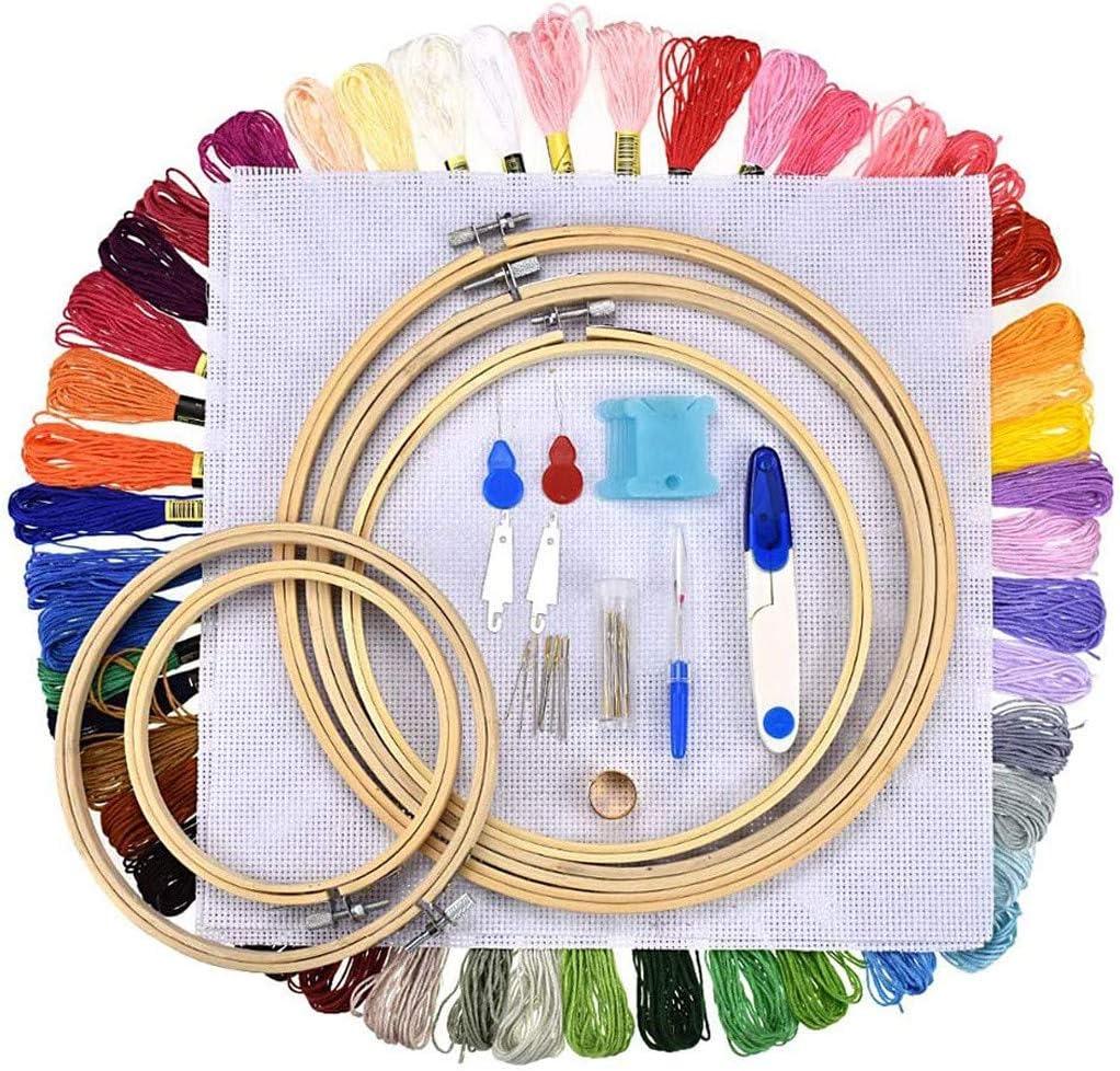 BURFLY Kit de iniciación de bordado, 50 hilos de colores, 5 aros de bambú, juego de herramientas de punto de cruz, para adultos y niños principiantes