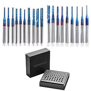 "Genmitsu 20pcs Nano Blue Coat End Mill CNC Router Bits, 0.8-3.175mm, 1/8"" Shank + CNC Router Bit Storage Box"