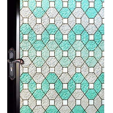 DUOFIRE Decorative Film Privacy Window Film Stained Glass Film No Glue Anti-UV Removable Window Cling Non-Adhesive Window Privacy Film D95011, (35.4in. x 78.7in.) 90cm x 200cm