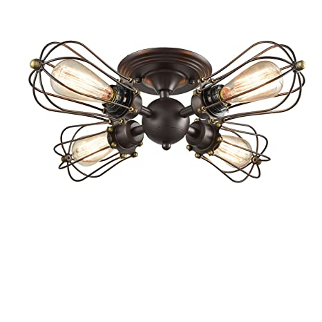 wire cage light fixtures rectangle yobo lighting oil rubbed bronze wire cage vintage 4lights semiflush mount ceiling semi