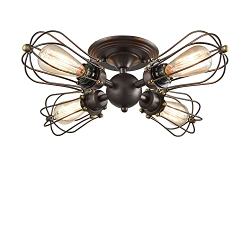 yobo lighting oil rubbed bronze wire cage vintage 4lights semiflush mount ceiling