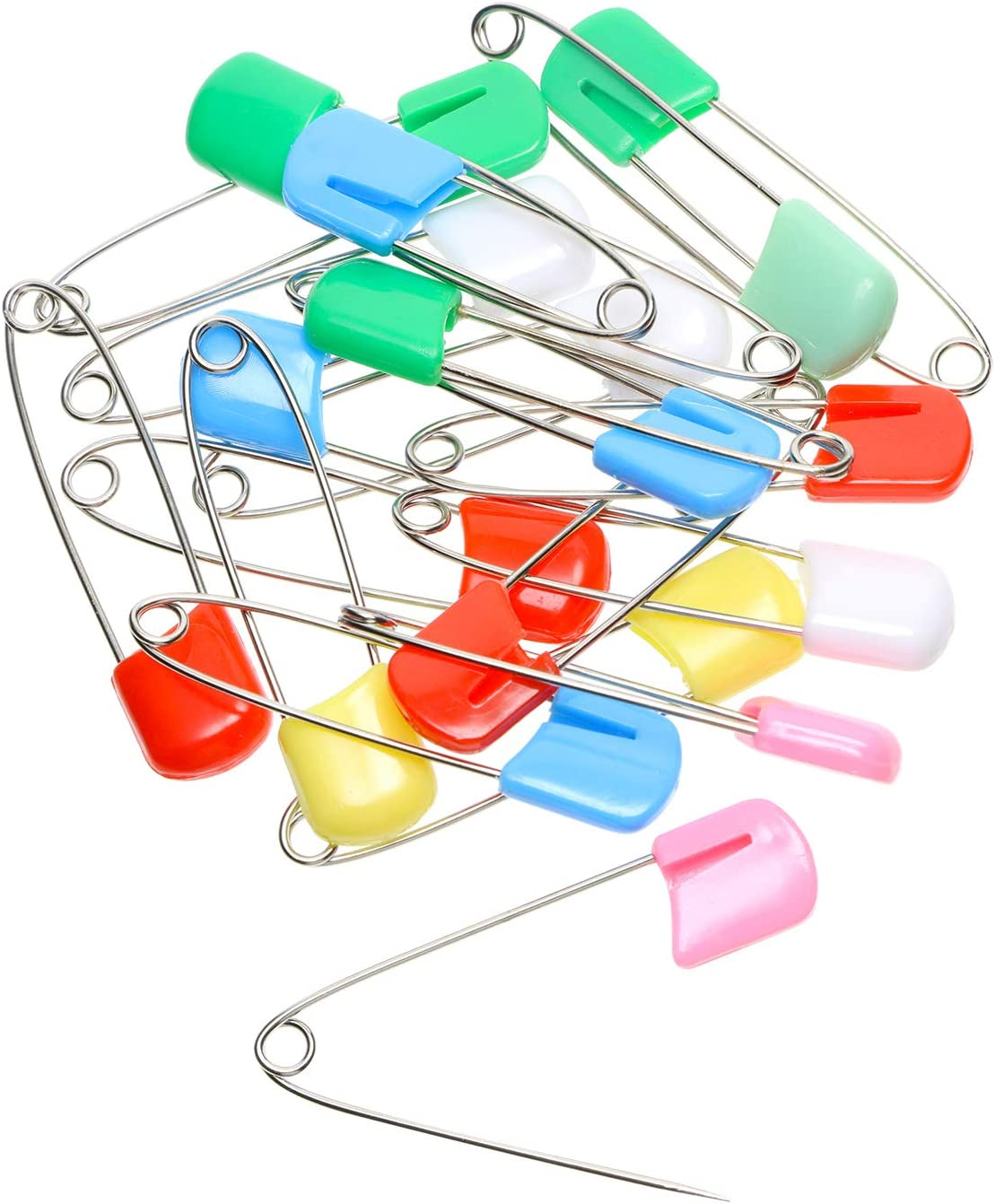 Shapenty 2 Inch Mix Colored Plastic Head Metal Baby Locking Safety Pins Craft Baby Kids Cloth Diaper Dress Socks Gloves Nappy Pins Hold Clip 20PCS