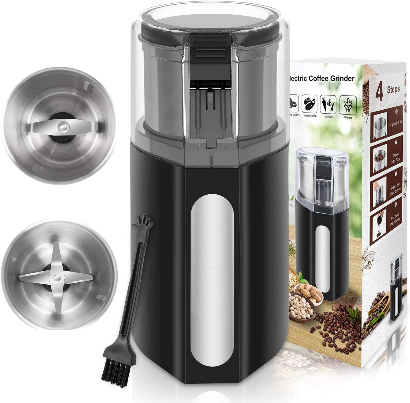 Outopest Coffee Bean Grinder, 200W Spice Grinder Electric Coffee Grinder, Nut Grinder for Spices and Seeds with 2 Removable 316 Stainless Steel Cups, Cleaning Brush, 4 Lines of Secutity Protection