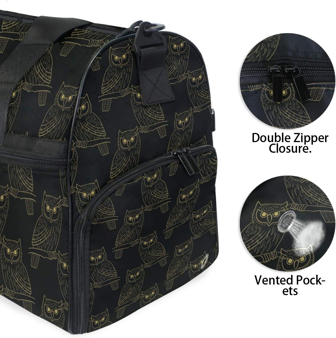 AHOMY Owl At Night Sports Gym Bag with Shoes Compartment Travel Duffel Bag