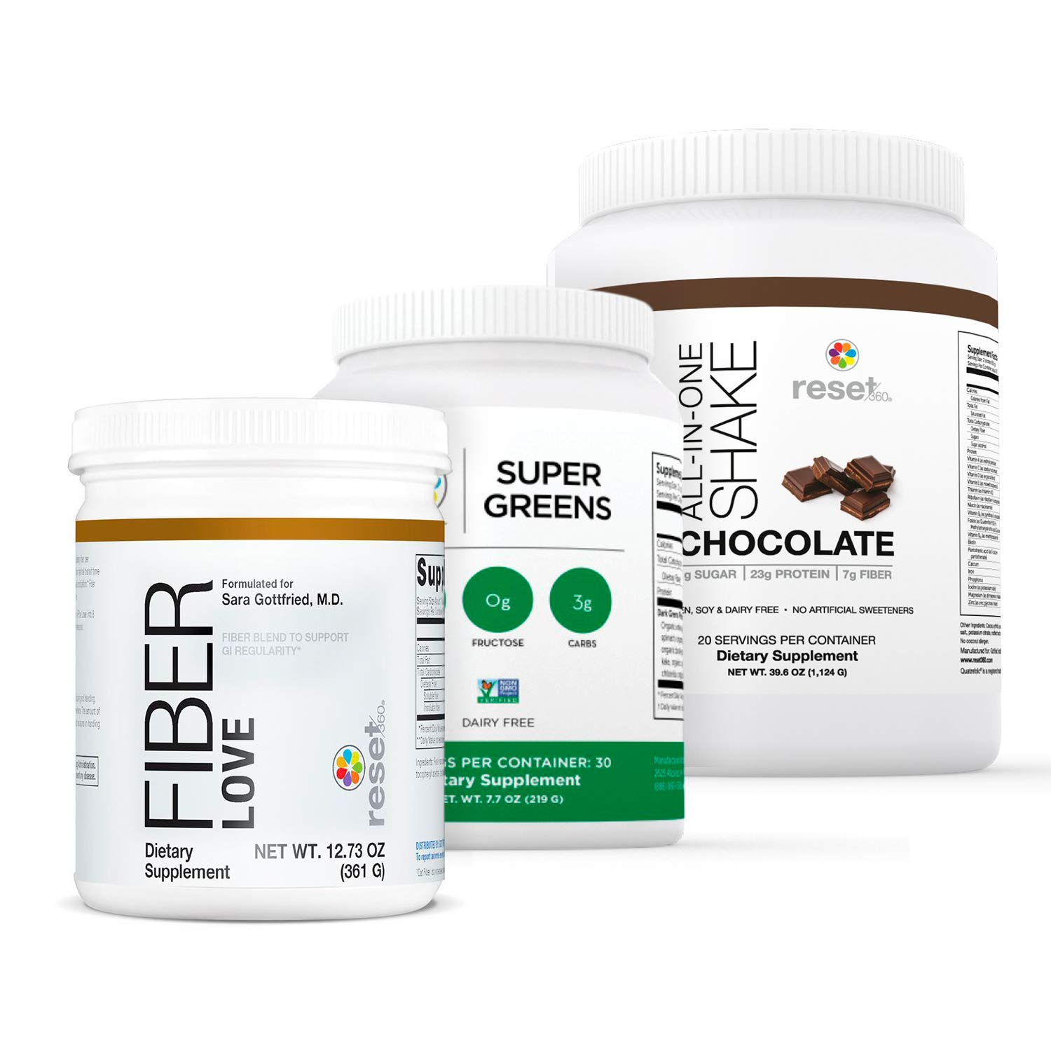 Reset360 Shake Kit Including Super Greens Superfood Diet Protein Powder, Fiber Love, Chocolate Protein Powder All-in-One Meal Replacement Shake by Reset360