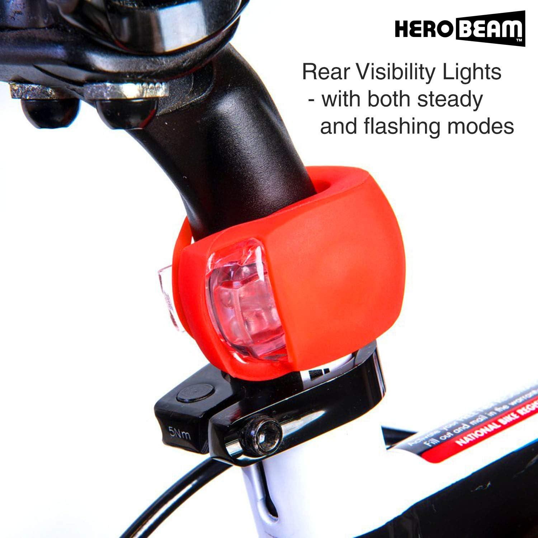 Traseras y Luces de Rueda S/úper Brillantes GARANT/ÍA DE 5 A/ÑOS. HeroBeam/® Set de Luces para Bicicleta Doble Lo /Último en Iluminaci/ón LED y Paquete de Seguridad de Luces Delanteras