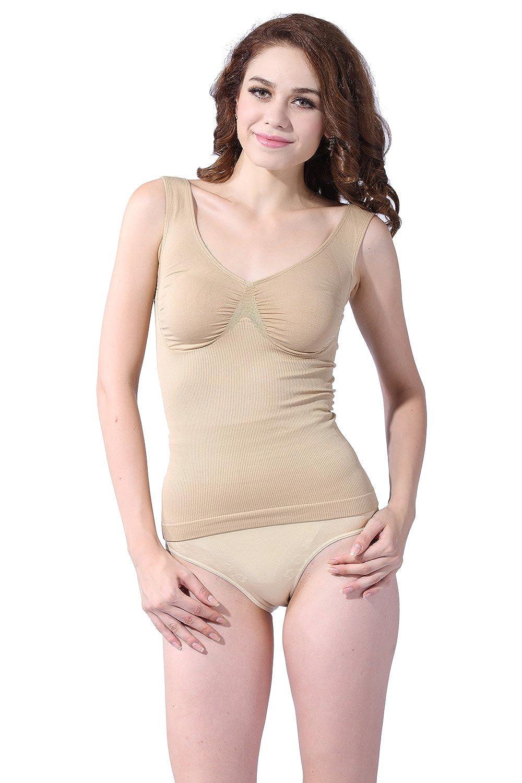 46c52850b0df2 Franato Women s Shapewear Tops Seamless Control Tank Cami Body Shaper Nude S   Amazon.ca  Clothing   Accessories