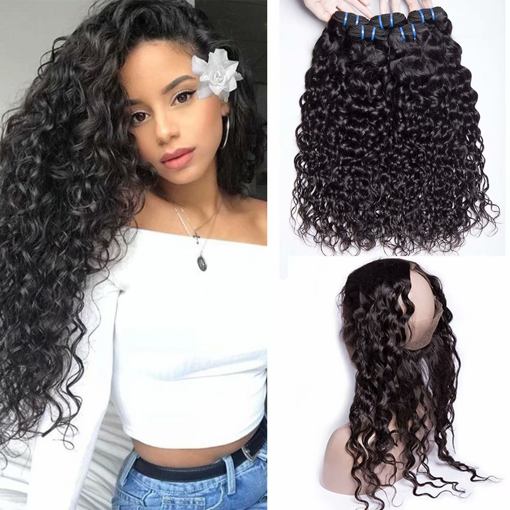 Maxine Water Wave Hair 360 Lace Frontal Closure Pre Plucked With Wet and Wavy Human Hair Bundles Malaysian Virgin Hair with Baby Hair Bleached Knots Natural Color(16 18 20 with 14 Frontal)