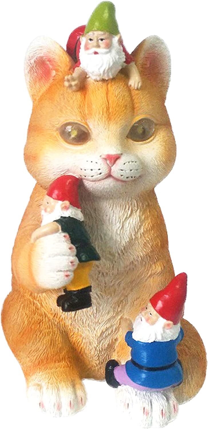 Solar Powered Cat Garden Gnome - Art Statue Figurine Mischievous and Whimsical for Outdoor and Indoor Funny Decor As A Yard Office or Home Gift (Orange)