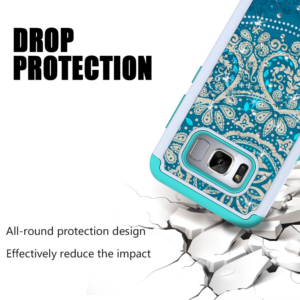 S8 Plus Case, S8+ Case, MagicSky [Shock Absorption] Studded Rhinestone Bling Hybrid Dual Layer Armor Defender Protective Case Cover For Samsung Galaxy S8 Plus / S8+ / S8 Edge (Flower2)