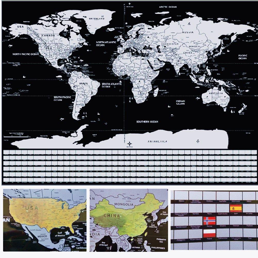 GBATERI Large Deluxe Scratch Off World Map Poster-Gold Foil Scratchable Personalized Travel Map with Country Flags,Track Your Travels,Adventures Perfect Gift for Travelers,World Explorer Home D/écor