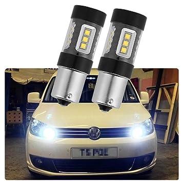 FEZZ Bombillas LED Coche S25 BA15S 1156 80W XBD 16SMD CANBUS DRL Luz Diurna