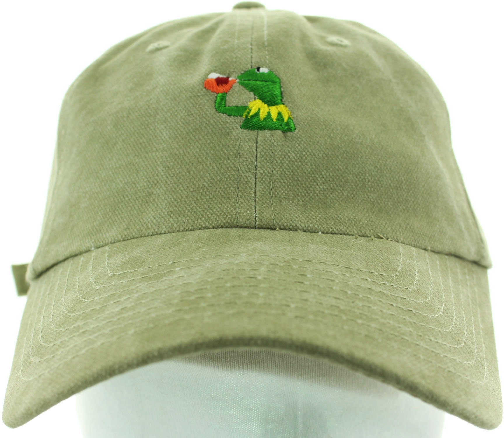 Kermit Sipping Tea None of My Business Hat Dad Cap Khaki