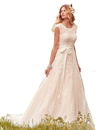JCdress Lace Tulle Wedding Dresses Modest Cap Sleeves Boho Wedding Gowns  (Ivory aa272b1df426