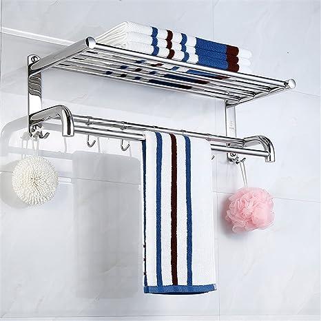 ZLYAYA--Toalleros de barra, Toalleros repisa ,Perforación de doble capa gruesa de acero inoxidable 304 racks baño baño colgante de hardware, de 40 cm. ...