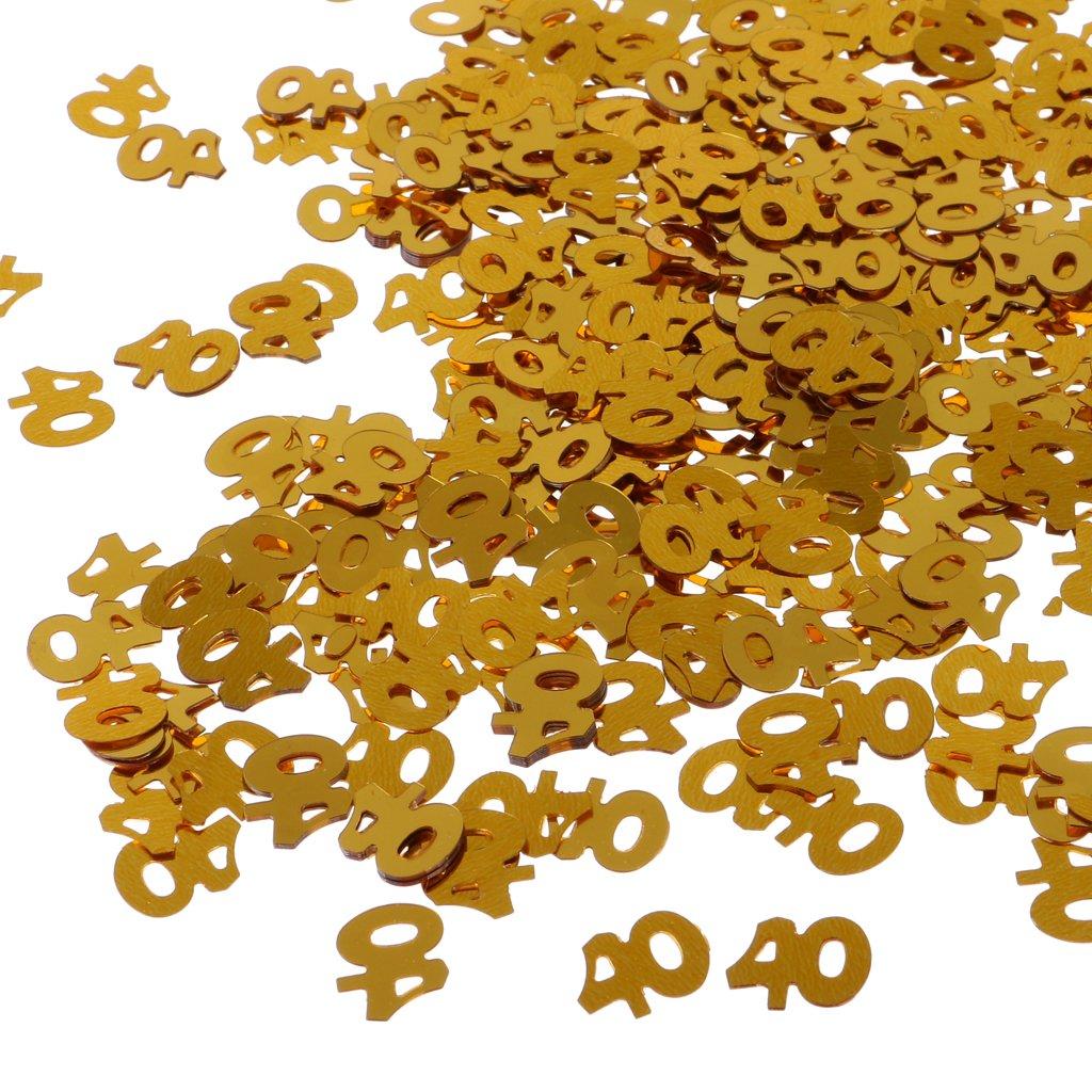 MagiDeal 1 Bolsa de Confeti de Tabla para Fiesta de Cumplea/ños Impreso con N/úmero de Edad Decoraci/ón de Aniversario de Boda Color de Oro 6 Tipos 50