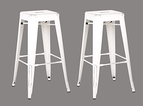AC Pacific Backless Indoor and Outdoor Metal Chair Barstool White 30-Inch Set of 2