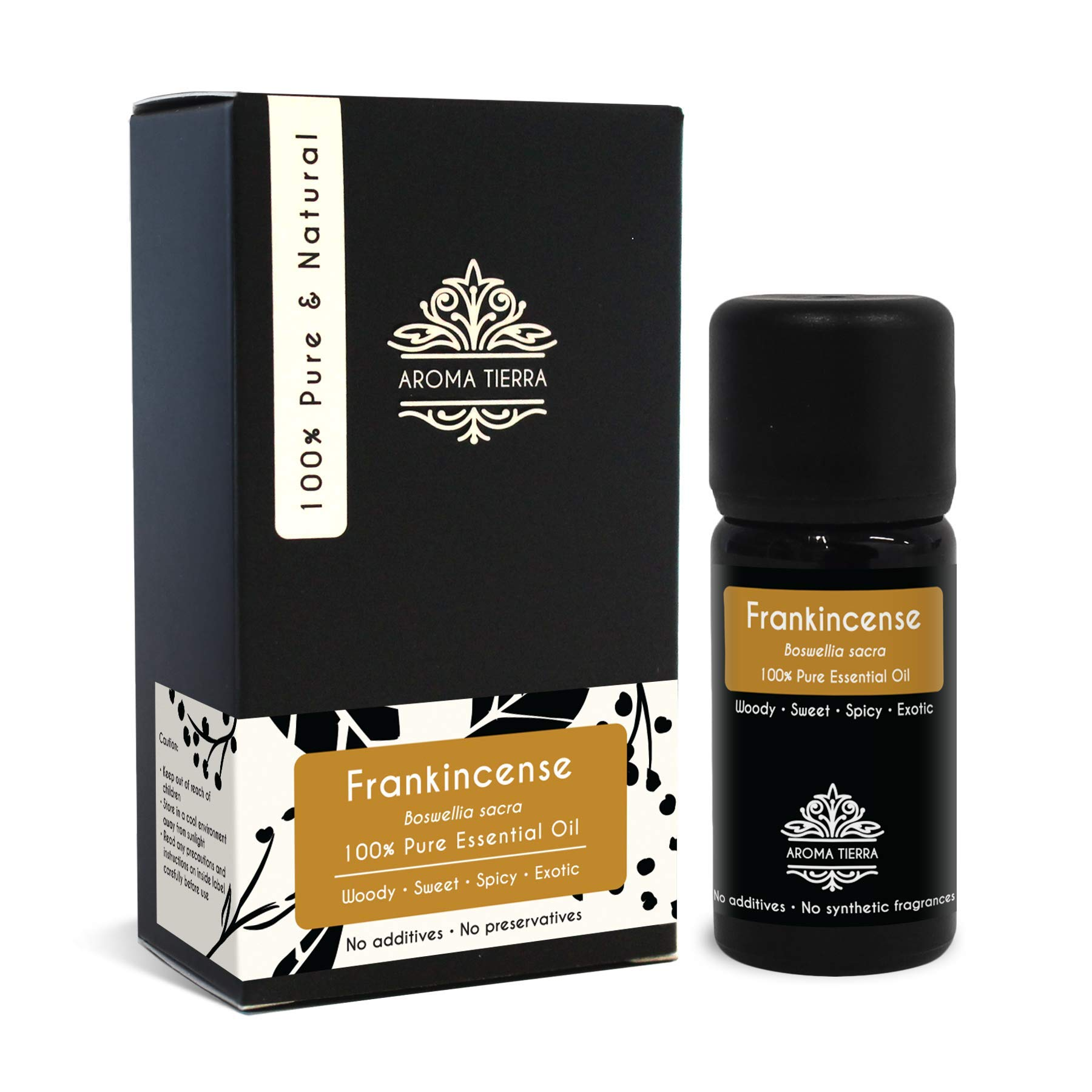 Aroma Tierra Sacred Frankincense Essential Oil (Boswellia sacra) - From Oman - 100% Pure, Natural, Undiluted (10ml)