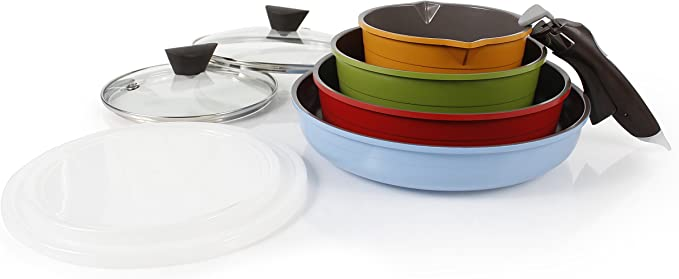Neoflam Midas Ceramic Cookware Set with Detachable Handle