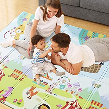 Portable Waterproof Non Toxic XPE Soft Foam Mat Baby Play Mat Anti-Slip Folding Puzzle Mat Playmat for Infants Indoor or Outdoor Use(78x70 inch) Extra Large Baby Floor Mat