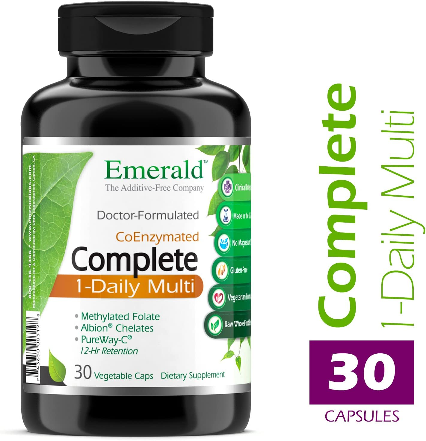 Emerald Laboratories – Complete Multi Vit-A-Min 1-Daily – Coenzymes Antioxidants – 30 Vegetable Capsules
