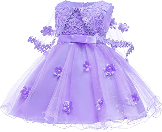 Toddler Girl Dress Purple Embroidered For Baby Christening Party Gown Princess
