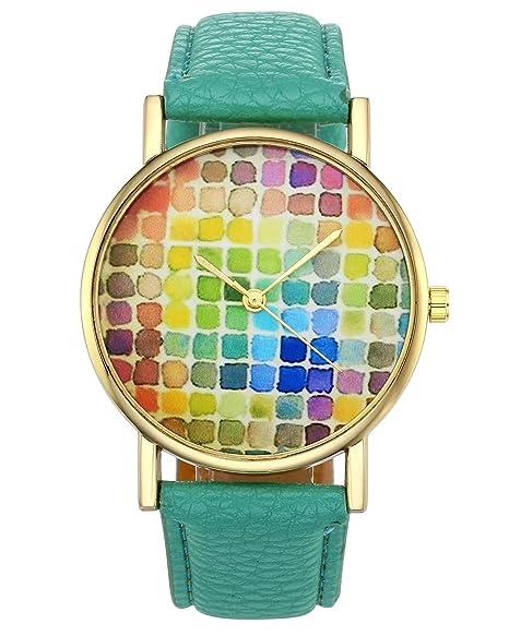 jsdde Relojes, Fashion Chica Mujer Reloj De Pulsera Bonito Cuadros Cuadros Cuero PU Banda analógico de Cuarzo Reloj trenduhr, Verde: Amazon.es: Relojes