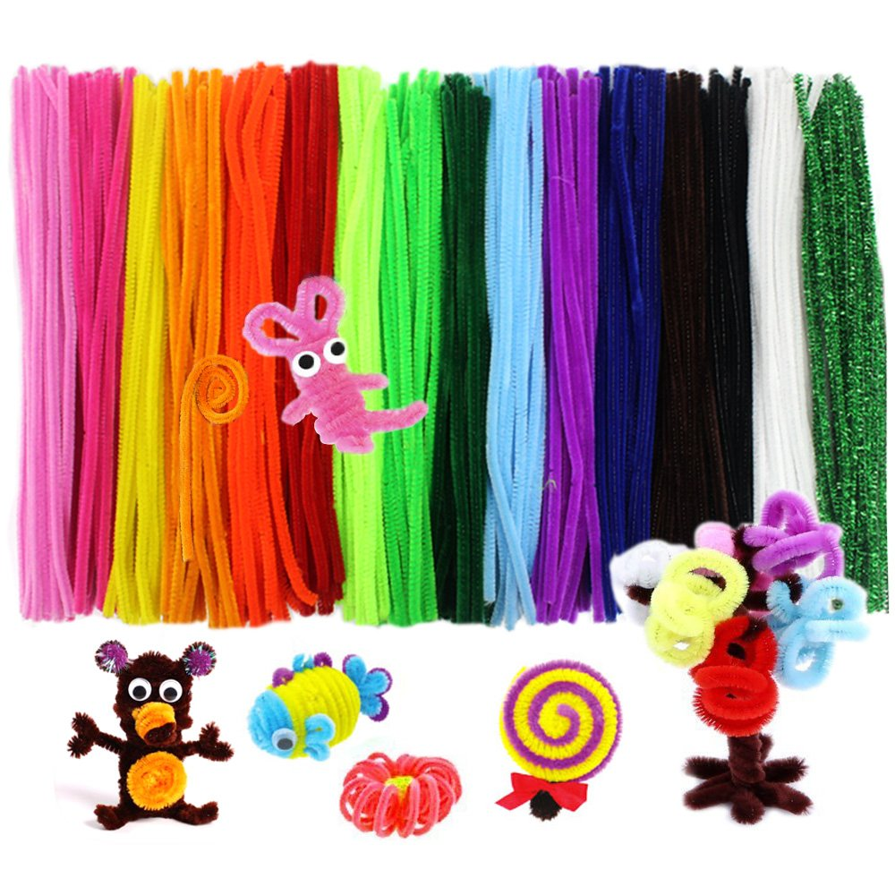 Assorted Colors Bememo 200 Pieces Pipe Cleaners Chenille Stems 6 mm x 12 Inch for DIY Art Craft