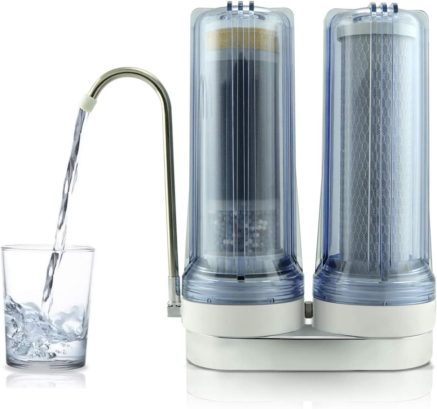 Apex. Exprt MR-2050 - Filtro de agua potable con doble encimera, 0,5 bloque de carbono y 5 etapas de cartucho ...
