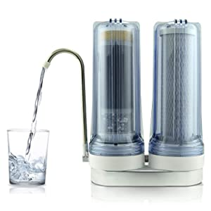 APEX EXPRT MR-2050 Quality Dual Countertop Drinking Water Filter - 0.5 Carbon Block and 5 Stage Mineral Cartridge - Best Alkaline Filtration System - for Healthier Safer Purified Water (Clear)