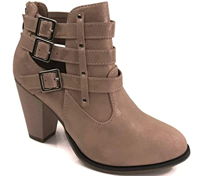 b6b6c9427eb Amazon.com | Women's Short Ankle Riding Boots with Chunky Heel ...