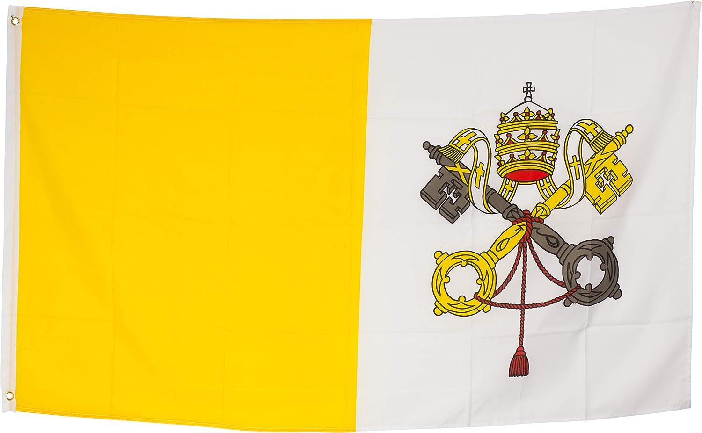 SCAMODA Banderas federales y estatales de Material Resistente a la Intemperie con Ojales metálicos, Bandera (150x90cm) (Ciudad del Vaticano): Amazon.es: Jardín